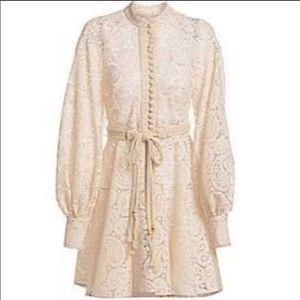 NWT Zimmermann Amari Belted Lace Mini Dress